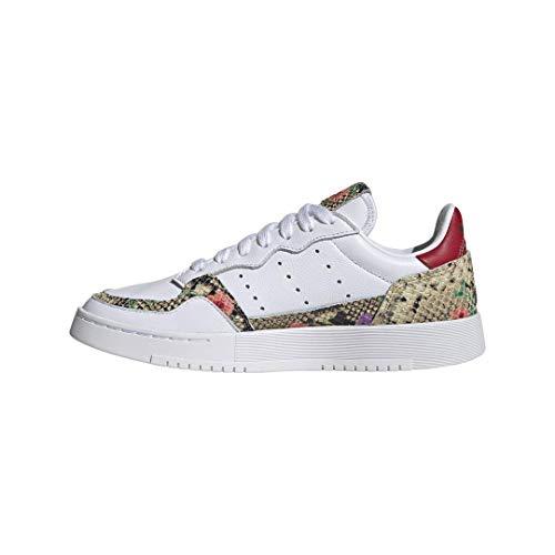 adidas Originals Women's Supercourt Sneaker, White/Scarlet/Gold Metallic, 8