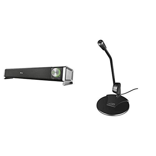 Trust Asto Soundbar Lautsprecher fur PC und TV Gerat Speedlink Pure Desktop Voice Microphone Tischmikrofon mit Klinkenstecker fur Buro Podcasts Gaming schwarz