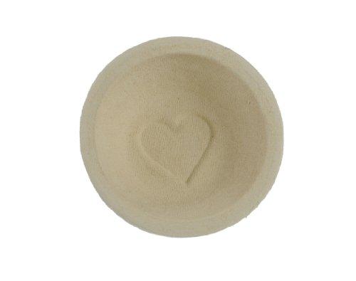 Gärkorb rund aus Holzschliff für Brote bis 1000 g / Ø 22 cm - mit Bodenmuster Herz