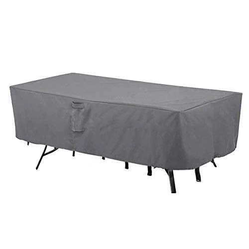 MH M&H Patio Furniture Covers, Outdoor Furniture Covers Waterproof with Handles and Durable Hem Cord, Fit Large Rectangular/Oval Table and Chairs, 600D UV Resistant Fabric, 108'x 82'x 23', Taupe