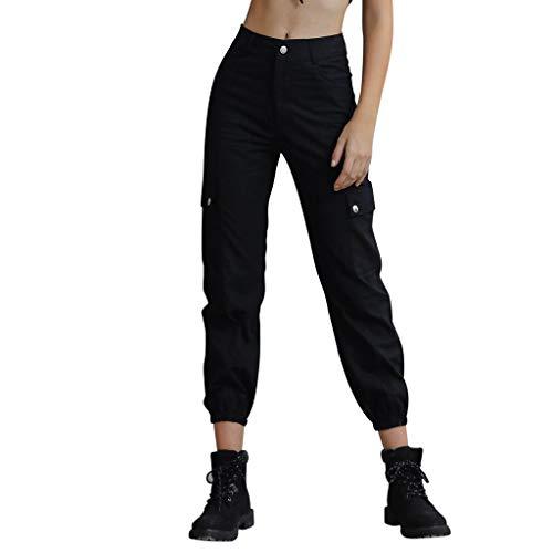 Makalon damesbroek, hoge taille, slim, grote maat, broek, dames, jeans, broek, casual, klassiek, damesbroek, vrijetijdsbroek, regular fit (zwart, L)