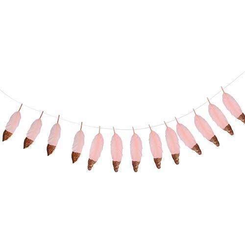 Yantan Guirnalda de plumas de color oro rosa con purpurina y plumas suaves sumergidas para dormitorio, bohemio, tipi, decoración bohemia, temática de boda, novia, baby shower, decoración rosa