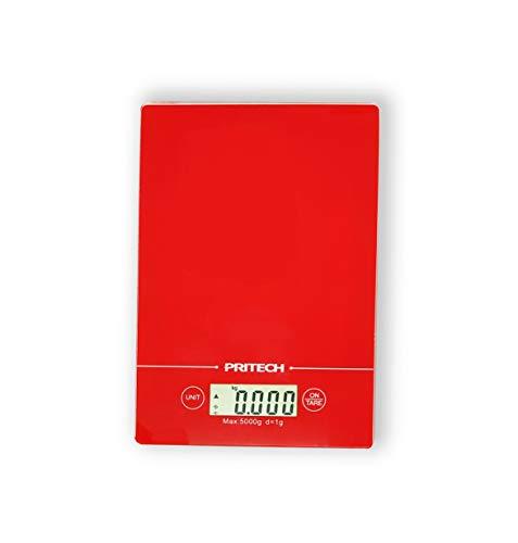 PRITECH - Báscula de Vidrio Resistente Digital para Cocina, Peso máximo 5 kg y Alta precisión, Parada automática y función de Tara (Roja)