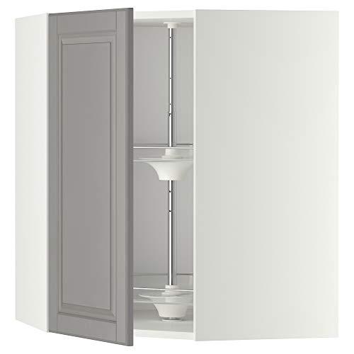 METOD hörnväggskåp med karusell 67,5 x 67,5 x 80 cm vit/Bodbyn grå