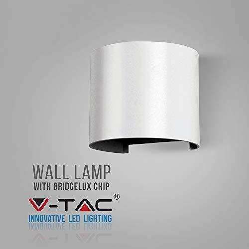 V-TAC 6W Moderne, witte, ronde Up Down wandlamp 4000 K daglicht wit - waterbestendig - sensorcompatibel - instelbare stralingshoek witte behuizing voor outdoor- en indoorhallen, tuinen, woonkamer