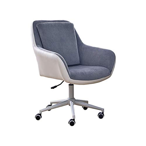 Halter Home Office Chair Ergonomic Design Soft Seating Adjustable with Gas Lift System, Velvety Top Gray Fabric PU Leather Back Cover, White Metal Base with PU Caster Wheels (Gray/White)