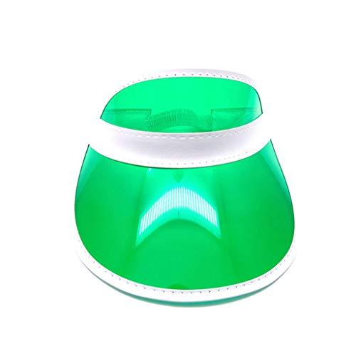 JERKKY Cappello Parasole Sport Spiaggia Cappellino Visiera Donna Uomo Trasparente Plastica PVC Smerigliato Caramella Colore Svuota Open Top Strap Indietro Verde