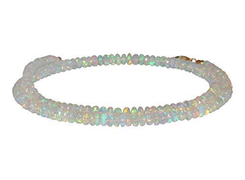 Perlenkette Opal Kristall Schmuck für Frauen, äthiopischer Opal, Geschenk für Ihre Frau, Hochzeitsgeschenk, Jahrestagsgeschenk, Boho-Halskette, Choker-Halskette