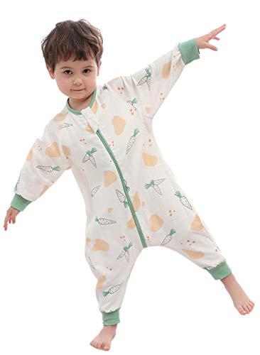 Chilsuessy Baby Sommer Schlafsack Langarm aus 100% Baumwolle 0.5 Tog Leicht atmungsaktiv Kleinkind Schlafsack mit Füßen Sommer Schlafanzuf für Jungen Mädchen, Karotte, 120/Baby Höhe 105-115cm