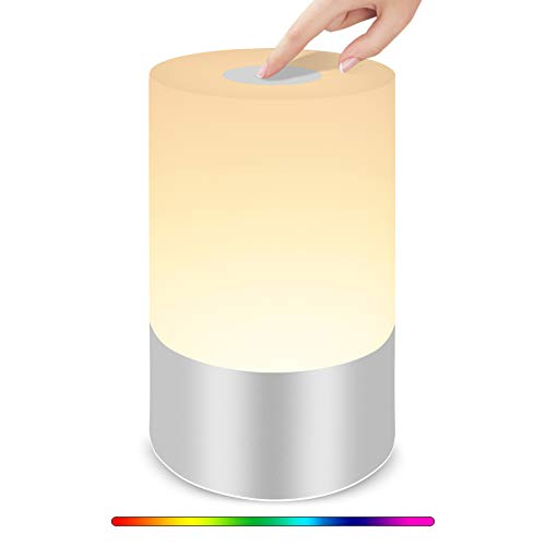 Touch Lamp Bedside Table Lamp, Slicoo Night Light Rechargable Dimmable Color Changing RGB for Kids Bedroom Living Room White