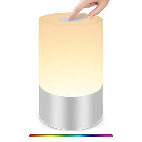Slicoo - Lámpara de mesa táctil, luz nocturna con cambio de color RGB, regulable, sensor táctil, ideal para niños, dormitorio, salón, oficina