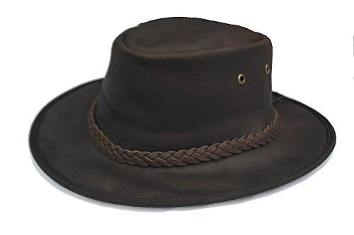 Cotswold Country Hats aventurier Cuir Marron foncé Chapeau DE Brousse Australien Style. véritable Cuir tressé Braid Amovible Menton Bande Ventilation Trous. intérieur àélastique Bandeau Sueur