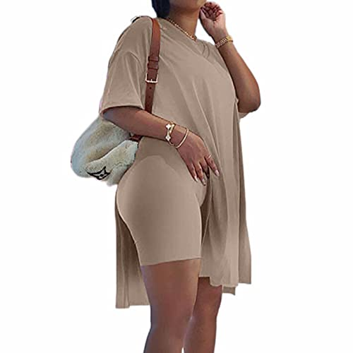 Plus Size Women's 2 Piece Outfits Tracksuits Short Sleeve Tunic Tops Bodycon Shorts Sweatsuit Sets Brown