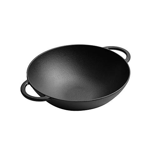 XXDTG Hierro fundido hogar tradicional espesante wok sartén antiadherente sin recubrimiento tapa de vidrio sartén de cocina sartén