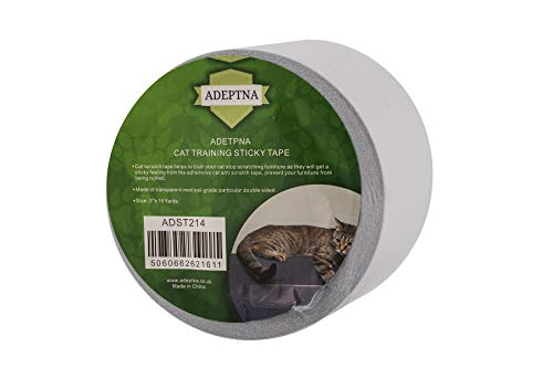 ADEPTNA Anti-Scratch Double Sided Adhesive Cat Training Sticky Tape for Protective Scratches Stop Cats Furniture Sticky Deterrent Cat Protectors Couch Door Carpets Chair and Sofa transparent