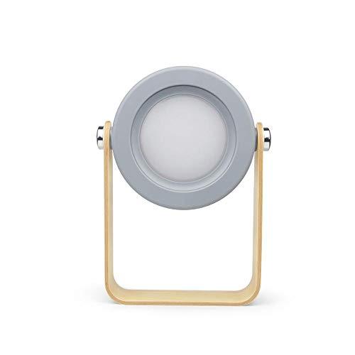 Blankspace Lámpara de mesa plegable LED con sensor táctil recargable USB, lámpara de escritorio para lectura de cabecera, camping al aire libre (color del cuerpo: gris, color: blanco cálido)