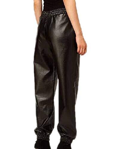 Huateng Frauen-reizvolle Schwarze Ausdehnungs-Imitat-PU-Leder-Hosen-Legging-Rüttler-Hose mit hoher Taille