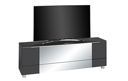 lisel-de Soundboard Lowboard Maja TV-Board in Schwarzglas matt - Grauspiegel Soundconcept 180x60x42cm / Neues Modell!!