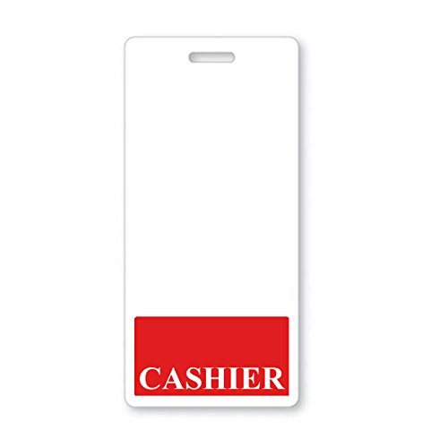 """""""Cashier"""" Vertical Badge Buddy with Red Border by Specialist ID, Sold Individually"""
