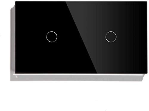 Interruptor WiFi Interruptor de Doble Toque 1 Gang 1 Way (sin Soporte WiFi) Panel de Vidrio 146 * 86mm Interruptor de luz de Pared Blanco (Color : Negro)