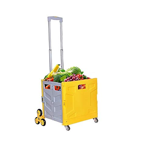 Foldable Utility Cart Folding Portable Rolling Crate Handcart with Durable Heavy Duty Plastic Telescoping Handle Collapsible 4 Rotate Wheels for Travel Shopping Luggage (Wheel 3602 (Yellow/Grey))