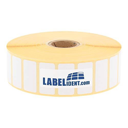 Labelident Thermotransfer-Etiketten auf Rolle weiß - 30 x 15 mm - 4000 Haftetiketten auf 1 Rolle(n), 1 Zoll Kern für Desktopdrucker, Rollenetiketten Papier, permanent