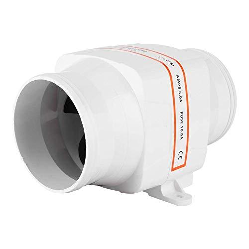 huaer Ventilador de Aire de sentina Marina, Ventilador de Aire de CC de sentina en línea de 4 Pulgadas, Ventilador de ventilación silencioso de Motor Fuerte para yate RV4in, ventil(12V)
