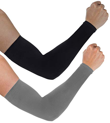 Aegend 2 Pair UV Protection Cooling Arm Sleeves UPF 50 Sun Sleeves for Men Women Youth, Black & Deep Grey