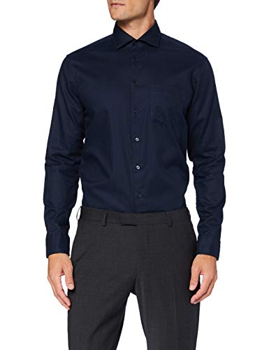 Seidensticker Herren Regular Langarm Uni Twill Klassisches Hemd, Dunkelblau, 44