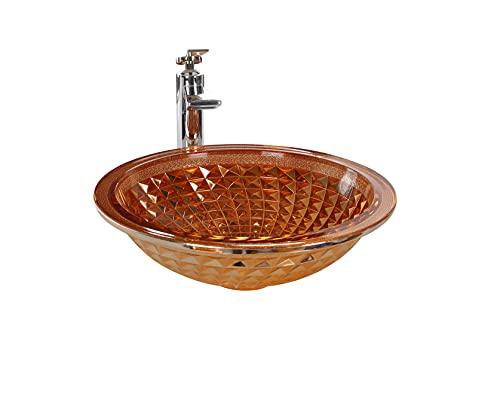FANWIN STAR Gypsophila Sparkler Crystal Glass Vessel Sink In Rose Gold Under mount sink | Vanity Countertop Sink Bowl with Pop Up Drain |FW-LA609