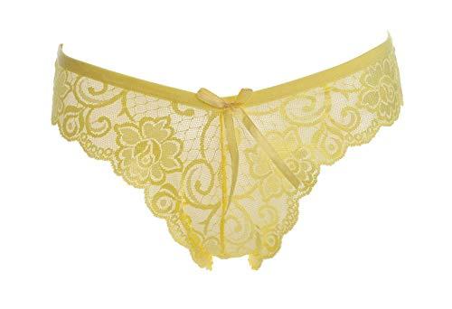 Tanga amarillo sin costuras de encaje