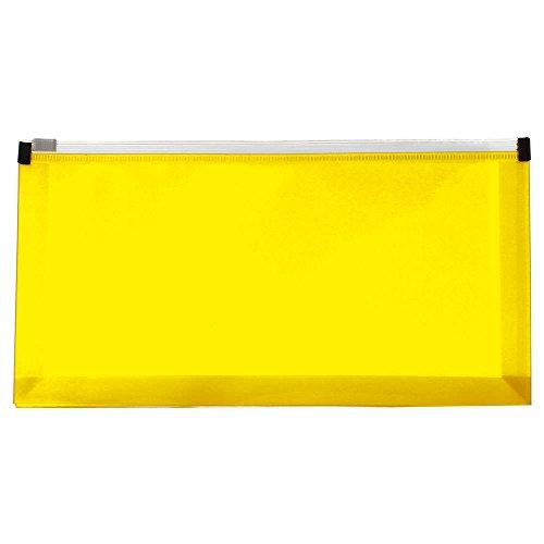 JAM PAPER Kunststoff Brieftaschen-Umschläge mit Reißverschluss - #10 Heft - 127 x 254 mm - Gelb - 12/Packung