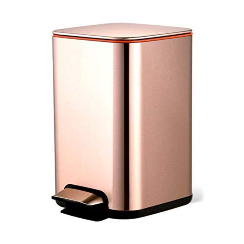 1yess Mülleimer Mülleimer mit abnehmbarem Kunststoff Innenabfall, Anti-Fingerprint gebürstet Edelstahl Mülleimer für Schlafzimmer Büro Abfallbehälter (Farbe: Gold, Größe: 12L)