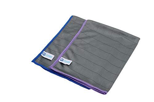 4Clean® saugstarke Carbon Mikrofasertücher I Streifenfreie Allzwecktücher für Küche, Auto, Bad, Fenster (2er Set - 2 Tücher)