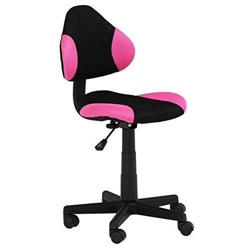 IDIMEX Chaise de Bureau pour Enfant Alondra Fauteuil pivotant avec Hauteur réglable, revêtement en Mesh Noir/Rose
