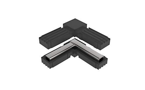 Conectores para tubos cuadrados (en L) - 2 unidades / 20,00 x 20,00 (mm) (Con ALMA de Acero)