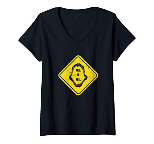 Mujer Meg es real Megalodn Mandbula Dientes de tiburn Shark Camiseta Cuello V