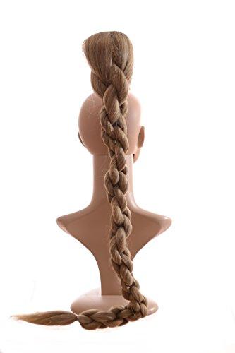 Queue de Cheval Tressée Extra Longue de 79cm de long blond de cendre| Effet Torsade | Système d'attache à cordonnet