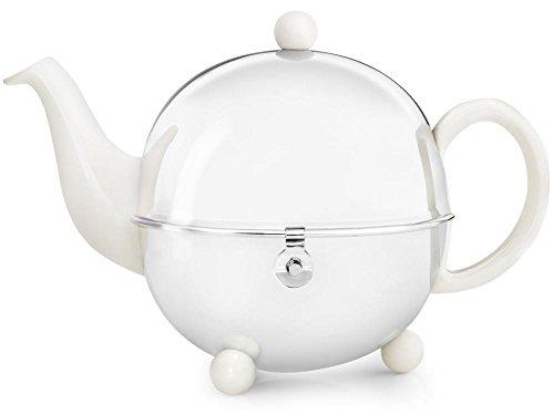 Schöne weiße Teekanne Cosy 1,3 Ltr. mit isolierendem Edelstahlmantel poliert von Bredemeijer inkl. Teefilter (für losen Tee) 1302W