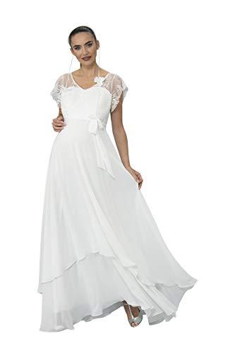 M.M.C. Charlotte Umstandskleid mit Spitze – Weiß Chiffon Hochzeit Standesamt Schwangerschaft Schwangerschaftskleid Abendkleid Cocktailkleid Abendmode (Weiß, 44)