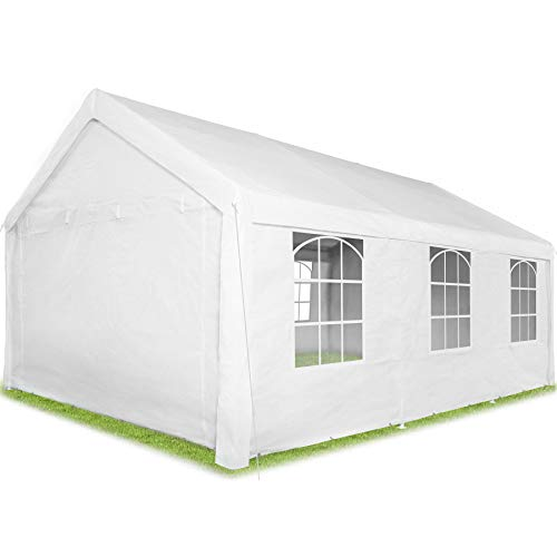 TecTake 403260 Pavillon 6 x 4 m, 100% WASSERDICHT, mit 4 Seitenwänden, sehr robuste Konstruktion, UV-beständig, inkl. Erdnägel und Spannseile