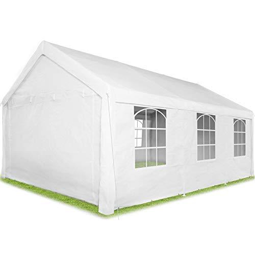 TecTake 403260 Carpa Pabellón de Jardín, 100% Impermeable, Resistente Rayos UV, Cuatro Paneles Laterales, 600x400x315 cm, Blanco