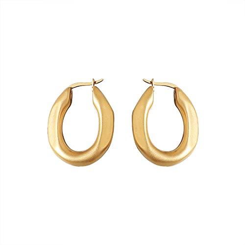 Pendientes de tuerca con textura mate simple mate mate sólido oval hebilla pendientes de acero titanio femenino chapado en oro