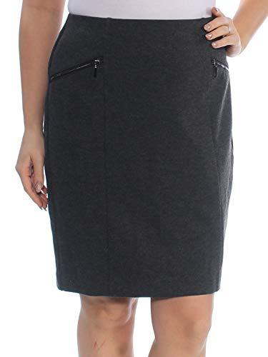 Alfani Womens Zip Pockets Panel Pencil Skirt Gray 8