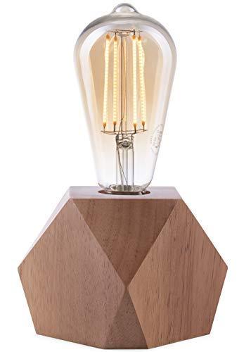 Lámpara Crown LED | Luz vintage alimentada por batería | Diseño Retro Industrial | Color: Roble | portátil liviano 19,5 x 9 x 9cm | incl. bombilla LED Retro Edison EL10
