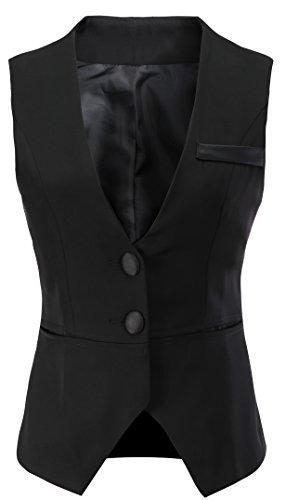 "Vocni Women V-Neck Business Slim Fit Skinny Button Down Suit Dressy Vests Waistcoat,Black,US XXL (Bust 49.06""),Tag 9XL"