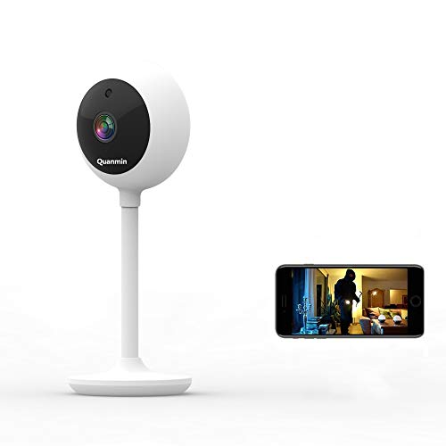 Quanmin Mini Home Security IP Camera,1080P FHD Indoor WiFi Wireless Camera with 2-Way Audio,Night Vision,Motion Detection for Pet/Elder/Baby Monitor Security CCTV Camera