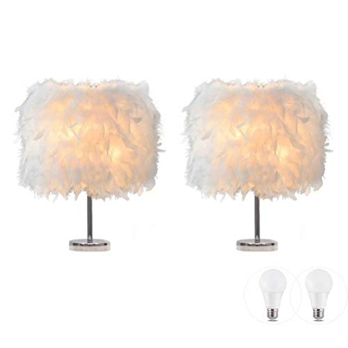 LIUNIAN 2er Pack Feder Nachttischlampe Nachttischlampenschirm Moderne Mode Federtisch Licht Schreibtisch Lampenschirm mit 3W Glühbirne für Wohnzimmer, Schlafzimmer, Bar, Restaurant, Inneneinrichtung