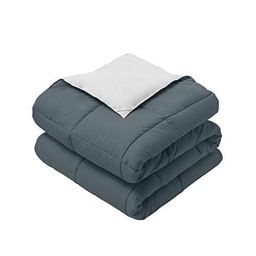 Royal Hotel Bedding Reversible Throw Blanket, Hypoallergenic, Down Alternative Throw Blanket, Medium Warmth, 50 by 75 Inches, Gray - White