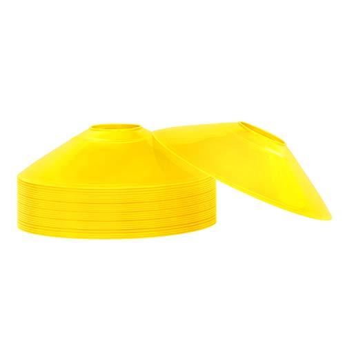REEHUT Coni da Allenamento di Agilità Set di 25 Coni da Sport con Supporto in Plastica & E-Book Mini Dischi Coni Marcatori Perfetto per Calcio, Rugby e Qualsiasi Altro Gioco di Palla - Giallo